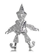 925 solid Sterling Silver with Cubic Zirconia Articulated Pulcinello pen... - $34.64