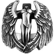Men's 316L Stainless Steel Large Cross Angel Wing Unisex Ring Band Vinta... - $10.68
