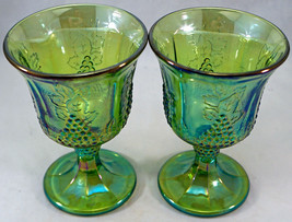 Set of 2 Vintage Green Iridescent Carnival Glass Goblets Harvest Grape Indiana - $25.99