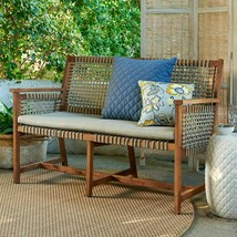 Rustic Cottage Wood Rope Patio Bench w/ Natural Beige Cushion Outdoor Fu... - $346.00