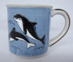 Otagiri Blue Stoneware Coffee Mug Orca Killer Whales Incised Excellent - $14.84