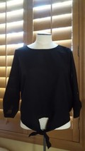 Sz L Womens Margret By Be Cool Black Blouse Top Pre-owned Gently Used w tie - $5.93