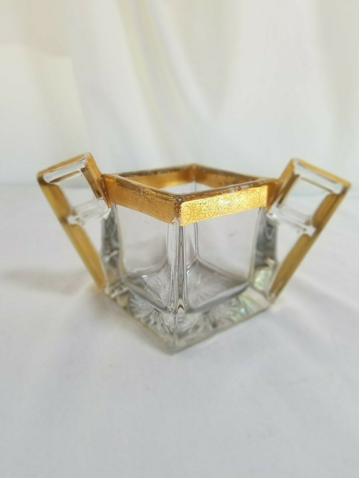 Primary image for Heisey Crystal Quator Sugar Bowl with Gold Rim