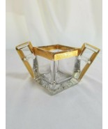 Heisey Crystal Quator Sugar Bowl with Gold Rim - $9.85