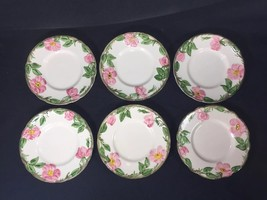 Vintage 50S Franciscan Desert Rose Set Of 7 Bread & Butter Plates USA made - $32.62