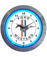 "Ford Mustang Blue Neon Clock 15""x15"" - $69.00"