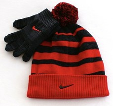 6338fdb239a5 Nike Red  amp  Gray Knit Cuff Pom Beanie  amp  Stretch Gloves Youth Boy   ·  Add to cart · View similar items