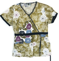 Sea Grape Nursing Scrub Top Tan Paisley Floral Butterfly Sz Small C21 - $9.49