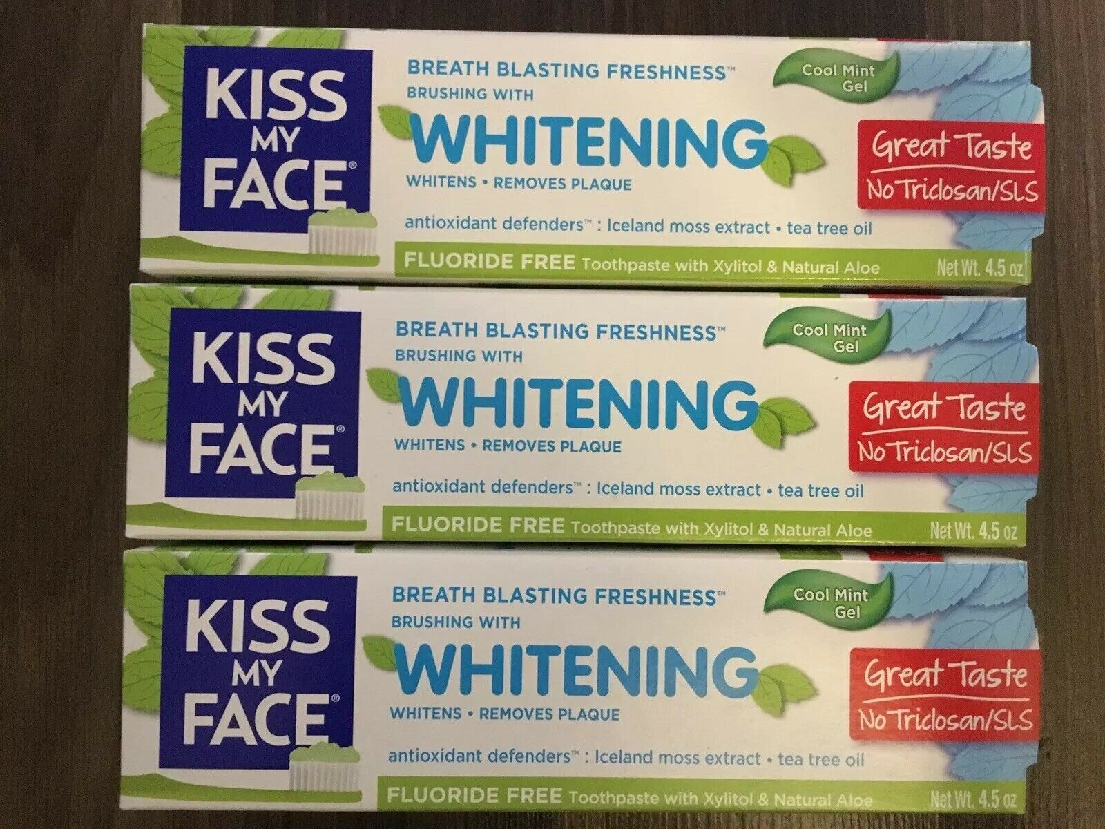 Primary image for Lot Of 3 Kiss My Face Whitening Fluoride Free Toothpaste Cool Mint Gel 4.5 oz