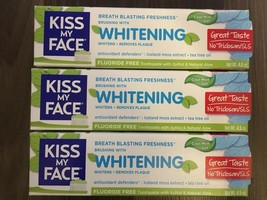 Lot Of 3 Kiss My Face Whitening Fluoride Free Toothpaste Cool Mint Gel 4... - $40.02