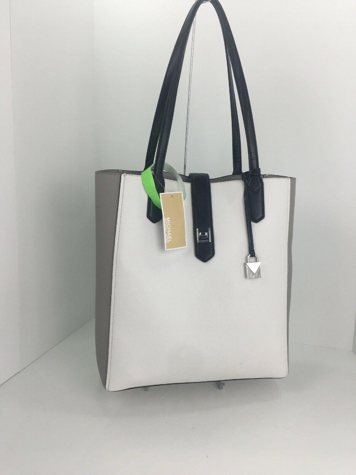 Michael Kors Bag Cassie Tote Medium NS Tote Leather White Gray Black B2R image 5
