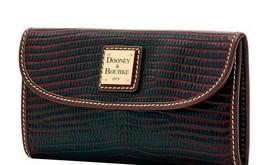 Dooney & Bourke NWT $148 Wallet Lizard-Embossed Leather Boudeaux Brown T... - $69.29