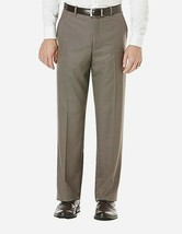 New Perry Ellis Men Travel Luxe Plaid Flat Front Dress Pants Taupe 36x32 - $50.08
