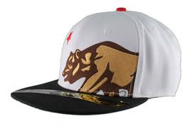 Dissizit! Side Bear White Black Brim Snapback Cap Hat California Star Flag image 2