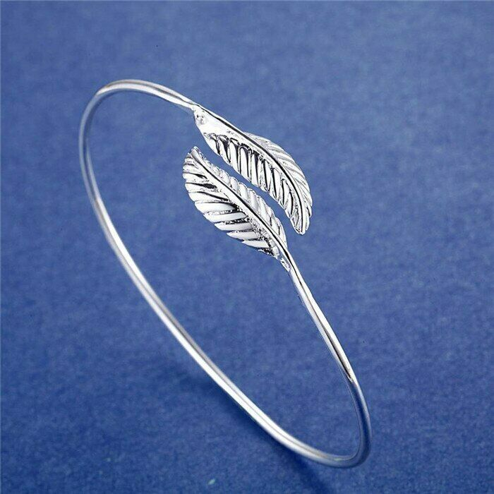 Primary image for Leaf Wrap Wire Bangle Bracelet 925 Sterling Silver NEW