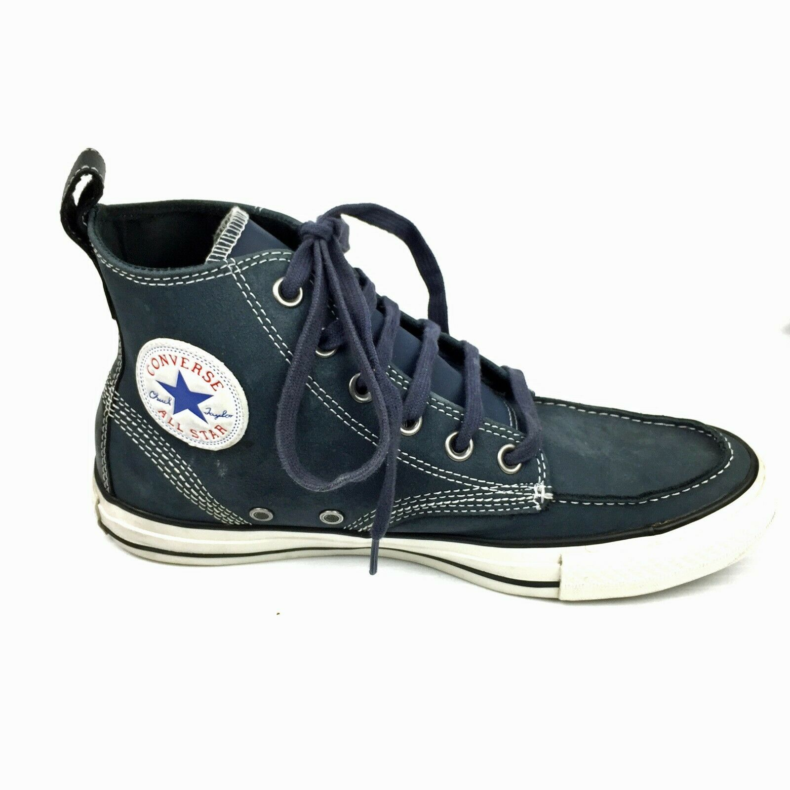 CONVERSE CTAS 125646C Navy Blue Leather High Top Boat Shoes Sneakers Sz 7D