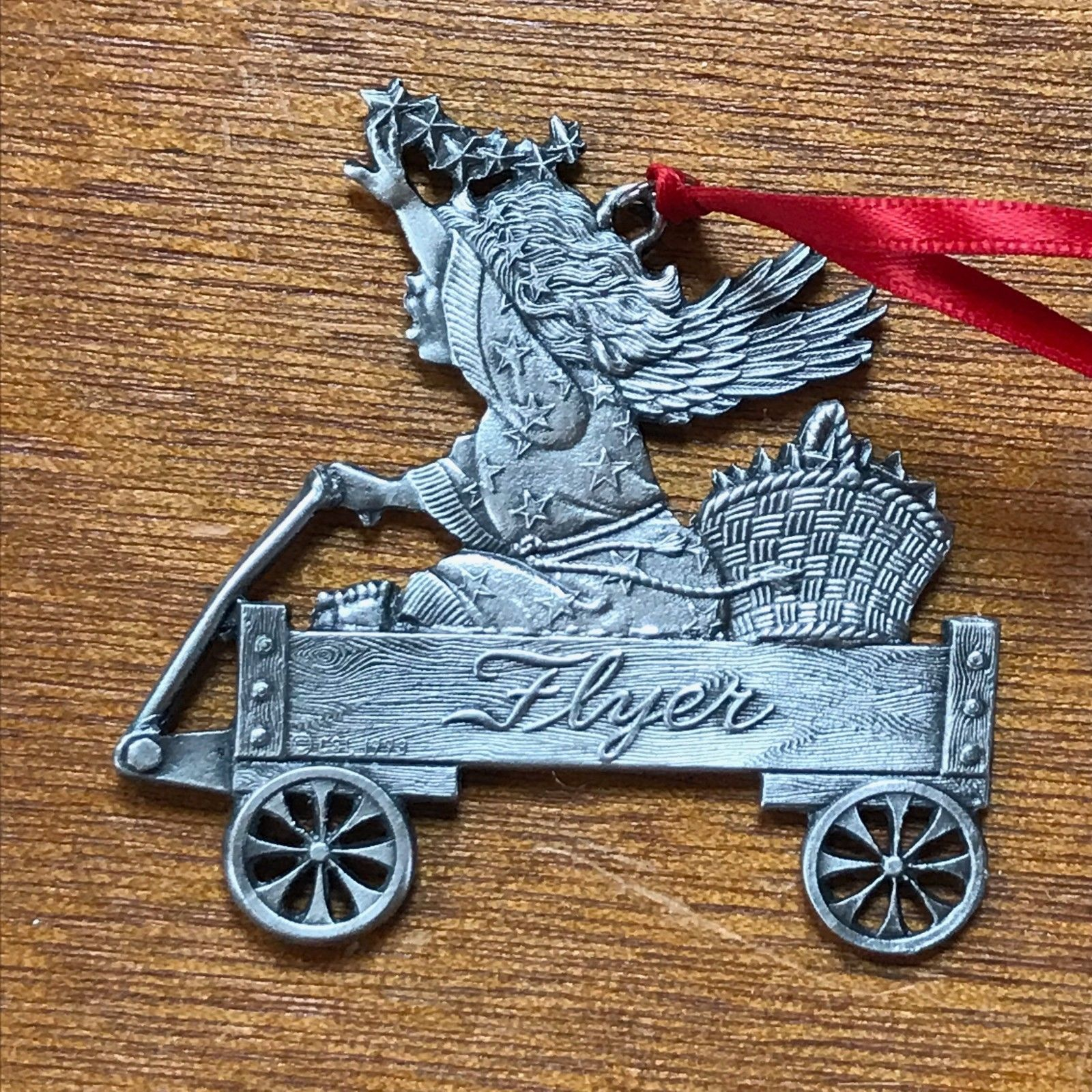 Very Detailed Carved Pewter Girl in Radio Flyer Wagon Christmas Tree Ornament –