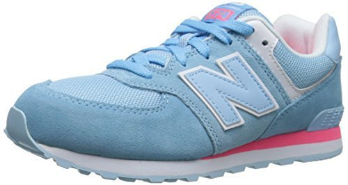 New Balance KL574G Core Plus Running Shoe (Big Kid), Polar Blue/Pink, 5.5 M US B