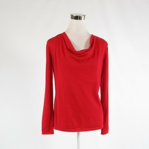 Red 100% cashmere CLASSIQUES ENTIER long sleeve draped sweater S - $59.99