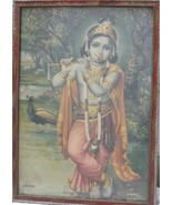 Antique Print Of Lord Krishna Look Beautiful Fluet Colors With Unique Or... - $119.31