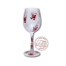 Lolita Santa's Party Wine Glass Retired Rare New in Box Christmas Holiday - $37.39