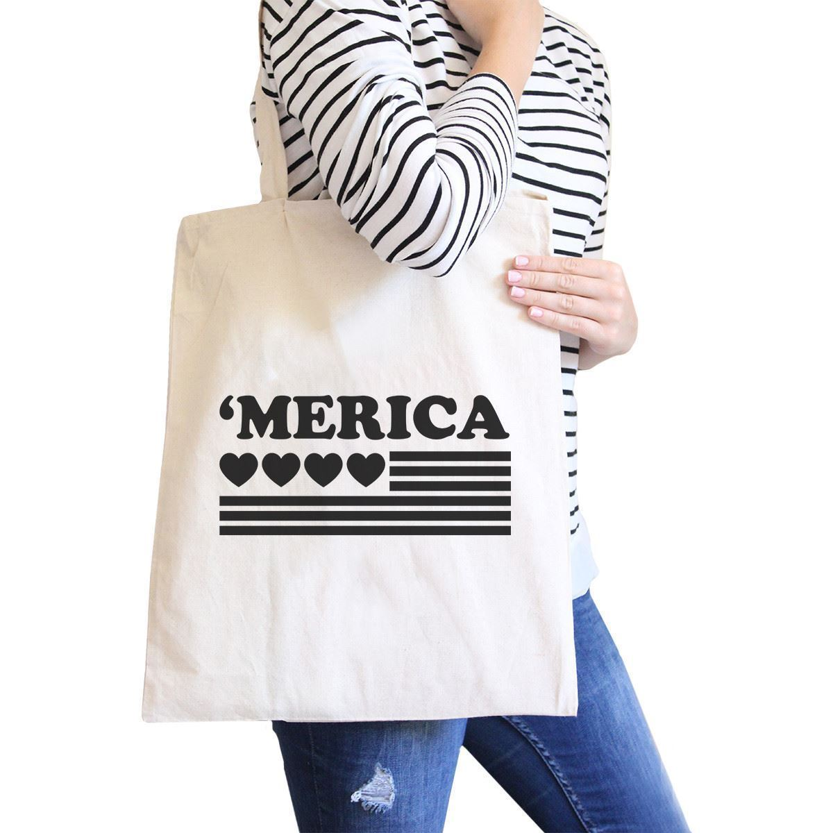 Primary image for Heart 'merica Natural Canvas Tote Cute American Flag Canvas Bag