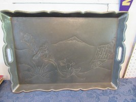 Arts & Crafts Folk Handmade Serving Tray Mexico 26 x 17.5 Mountain Cactu... - $74.31