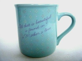 Hallmark Purely Pastels Aqua Mother's Love Coffee Mug Cup 1986 Made In J... - $5.89