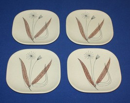 4 Bread Plates Franciscan Trio Pattern Square Vintage 1950s Flower Brown Leaves - $28.66