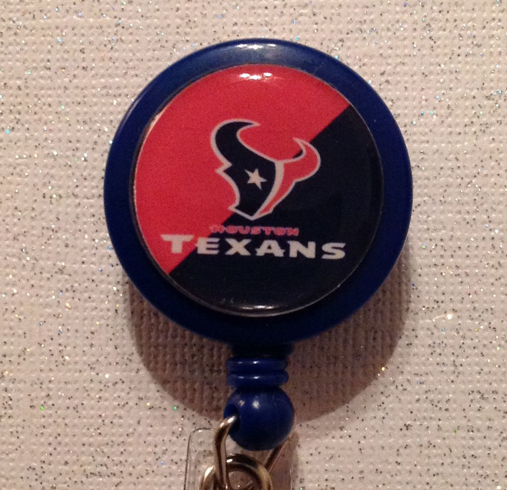 Primary image for Nfl Houston Texans Badge Reel Id Holder Red Blue Alligator Clip Handmade New