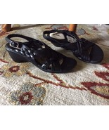 Womens 5 blk LEATHER THOM McAN Heels Shoes Sandals COMFY CUTE! - $11.23
