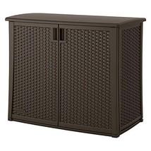 Outdoor Resin Wicker Storage Cabinet Shed in Dark Mocha Brown - $217.80