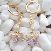 Gold 18K GF Purple Crystal Woman Party Pendant Earring B497 - $15.00