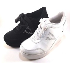 Volatile Cash White Leather Wedge Platform Lace Up Sneakers Size 10 - $47.20