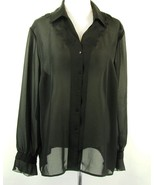 Norton McNaughton Sheer Black Blouse Size 20W Embroidery Ruffled Sleeve - $9.99