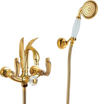 Gold wall mounted swan Handles Bath Tub shower Filler Faucet with Handsh... - $386.09