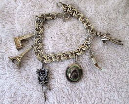 Vintage Sterling Heavy Charm Bracelet 6 Unique European Charms (062) - $148.67