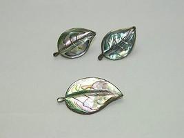 VTG Alpaca Mark & .925 Sterling Silver Abalone Leaf Earrings Pin Brooch Demi Set - $74.25