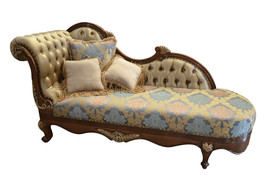 Hollywood Regency  Carved Mahogany Wood Chaise Fainting Chair,89''L - $1,777.05