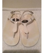 Size 8 Michael Kors PLATE White with Silver JELLY Thong Sandal - $16.97