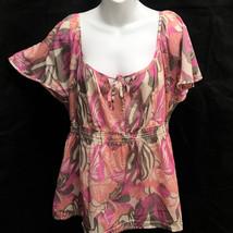 H&M Sz 16 Top Pink Gray Tropical Floral Semi-Sheer Flutter Cap Sleeve Shirt - $15.66
