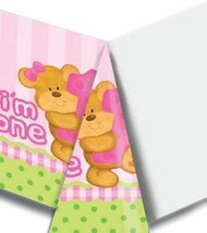 Bears 1st Birthday Girls Pink Plastic Table Cover Per Package Party Supp... - $4.54