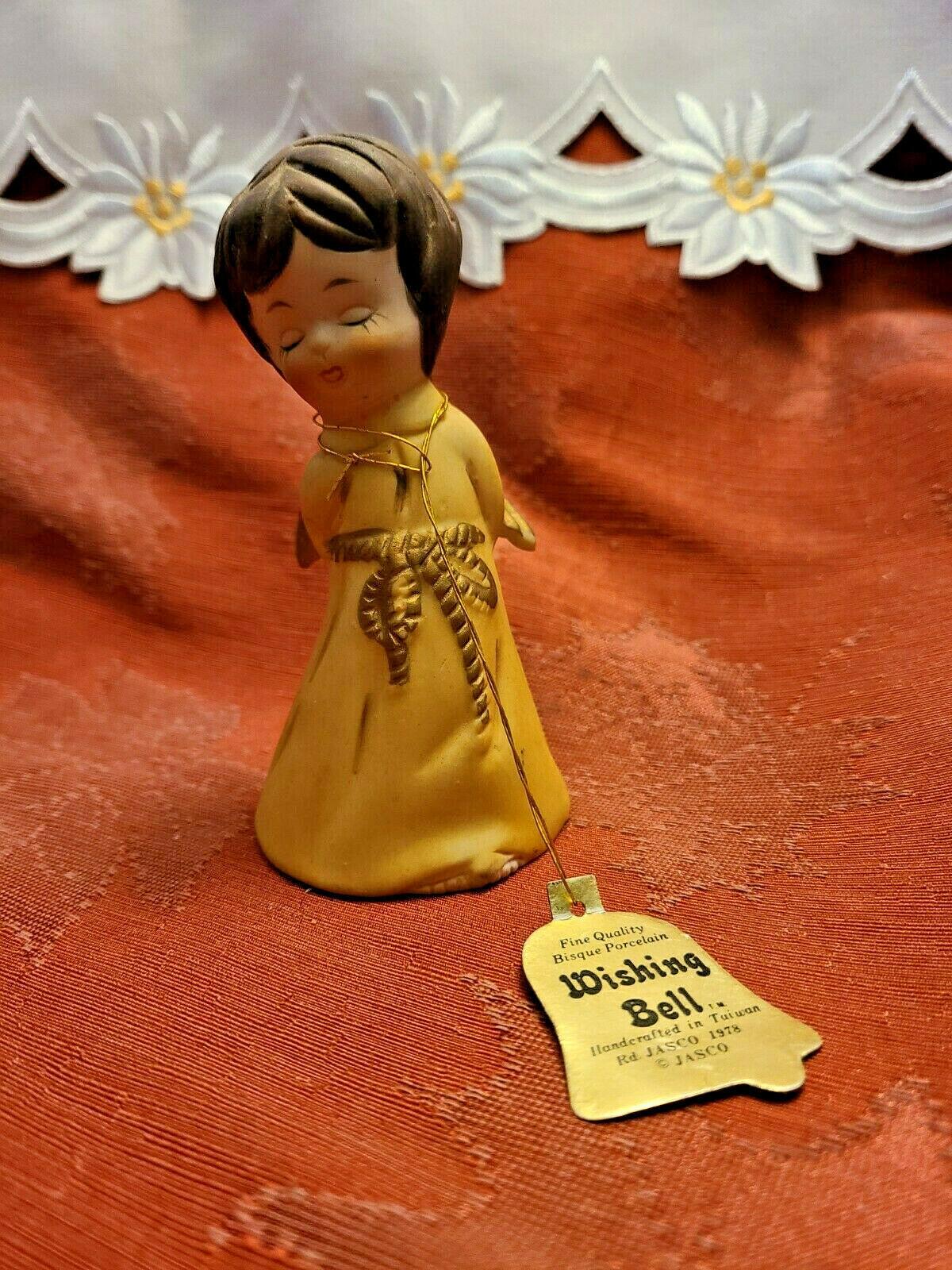 Vintage 1978 • Jasco • Angel Wishing Bell • Fine Bisque Porcelain • Handcrafted