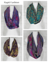 Rapti Fashion Cashmere Infinity Scarves Floral Paisley Art to Wear NWT O... - $44.99