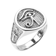 Sterling Silver Eye of Horus with Egyptian Ankh Crosses Men's Ring - £53.80 GBP