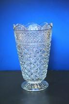 "VTG Anchor Hocking WEXFORD Tall 10 1/4"" Flower Vase diamond cut glass heavy - $24.70"
