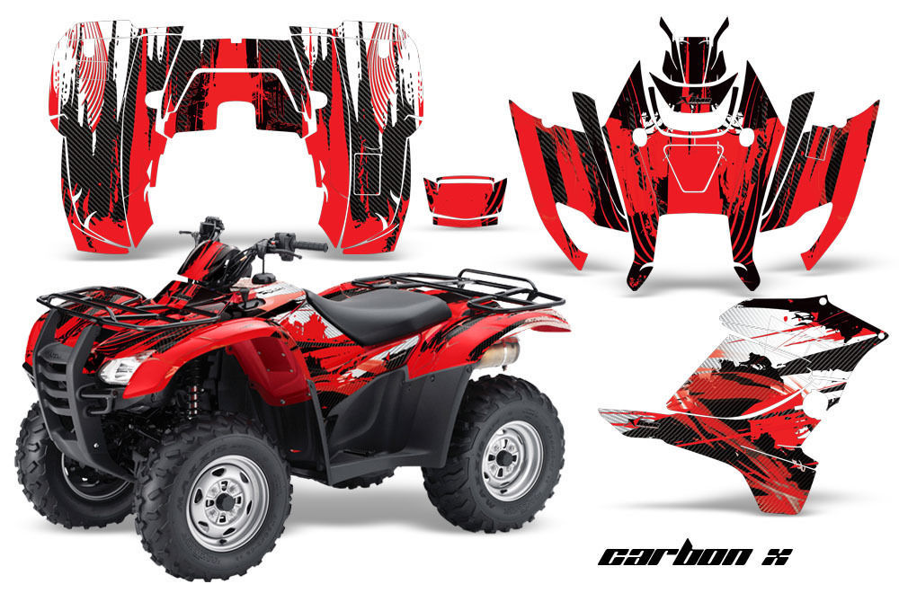 ATV Graphics Kit Decal Sticker Wrap For Honda Rancher AT 2007-2013 CARBONX RED