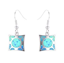 Fashion Geometric Square Drop Earrings For Women Blue Fire Opal Hanging ... - $25.99