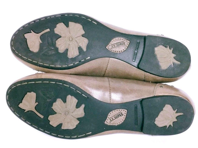 Born Women's Lola Brown Leather Studded Slip On Cap Toe Flats Size 36.5 US 6 M