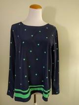 Gap NWOT Women's Blouse Career Cuff Long Sleeves Navy Blue Green Polka Size M - $12.05